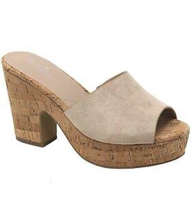 Charles David Womens Deploy Nude Cork platform sandals Size 7.5