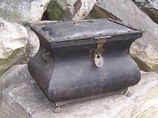 Antique Gothic Victorian Chest w/ Lock Chest Trunk Brass Hardware and Feet Old