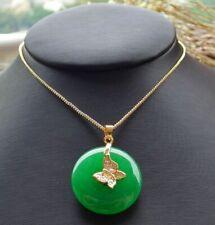 Yellow Gold Plate Green JADE Pendant Circle leaf Chain Diamond Imitation 101478