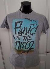 Panic At The Disco Band Punk Rock Gray T Shirt Medium Cactus and Bats Retro Rare