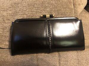 JACOBSON's black leather clutch handbag chain gold evening bag Vintage