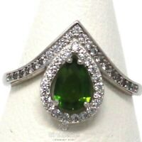 Authentic Genuine Colombian Emerald Ring Women Jewelry Size 6.5 14K Gold Plated