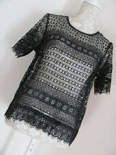 """BLACK OPEN WEAVE  TUNIC TOP """" MARKS AND SPENCER COLLECTION """"SIZE 12---14"""