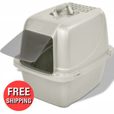 Large Cat Litter Box Pan Enclose Hood Covered Kitty House Clean with Odor Filter