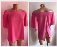 Light Pink Bardot Off Shoulder Neck Frill Sleeves Floaty Top Size 12-20