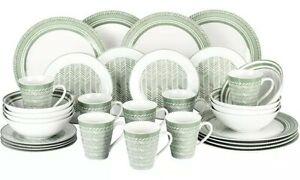 Waterside - 32 Piece Green Herringbone Complete Fine China Porcelain Dinner Set
