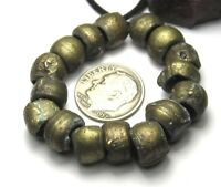 18 RARE AMAZING WELL WORN  OLD NIGERIAN BRASS ANTIQUE BEADS AFRICAN TRADE