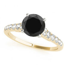 2.26  Carat Black Diamond Solitaire Wedding Band Ring Gorgeous 14k Yellow Gold