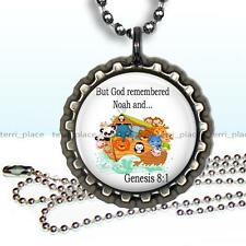 Noah's Ark Religious Children's Bottle Cap Necklace & Chain Jewelry Genesis 8:1