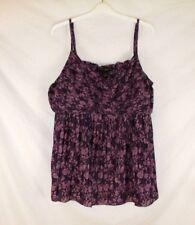Venezia Womens Cami Shirt Purple Floral Sz 22/24 Spaghetti Straps Summer CB99P