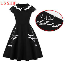 US!Halloween Plus Size Bat Embroidery Dress Punk Party Gothic Cosplay Costume