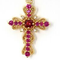 Unique Cross Red Ruby Necklace Women Birthday Jewelry 14K Yellow Gold Plated