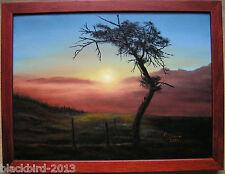Baum in Sonnenuntergang Ölgemälde incl. Holzrahmen handgemalt und signiert