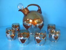 Vintage Farber Bros Farberware Chrome & Amber Glass And 6 Cordials Decanter Set