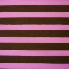 "Brown & Pink Stripe Poly Cotton 45"" Fabric *Per Metre"