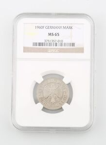 1960-F West Germany Federal Republic 1 Mark Coin Slabbed MS-65 NGC KM 110 Mint