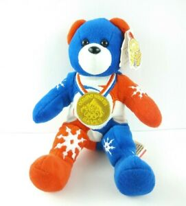 "Team Ring Bears Plush 8"" Teddy Beanie 2002 Winter Olympics USA Gold Medal Team"
