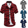Mens Casual Dress Shirt Plaid Summer Short Sleeve Polo Check Slim T-shirt Tops