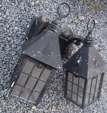vintage quality exterior outdoor light pair arts crafts era Lloyd wright style
