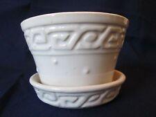 VIOLET PLANTER! Vintage McCOY pottery! Circa 1950s: GREEK KEY BORDER design!