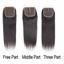 """Hot Brazilian 4""""x4"""" Lace Closure Straight Human Hair With Baby Hair Virgin Remy"""