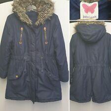 Girls John Lewis Winter Coat Age 9 Years Navy Blue School Hood Fleece Warm