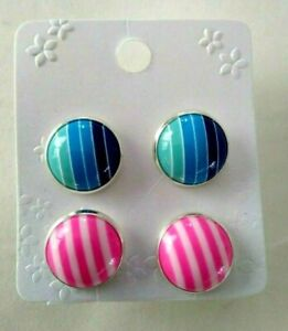 2 pairs of silver plated 12 mm stripe  acrylic  earrings