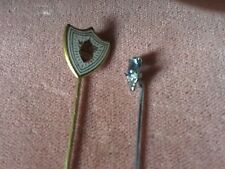 Two Vintage Stick Pins,Pale Blue Stone and Shield Form Enamel Example