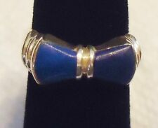 Sterling Silver Ring Blue Lapis Bowtie Size 5 - Solid 4.1 Grams