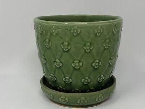 Vintage Pottery Green 4 Petal Flower Pattern Flower Pot 455 USA Possibly McCoy?