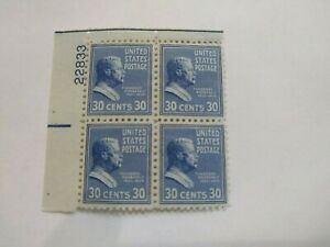 US Stamps #830 Block of 4 -  30 cent Roosevelt 1938 MH