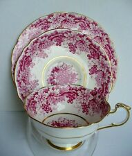 Paragon GRAPE VINE  cup & saucer TRIO Pink Raspberry with gold Beautiful!