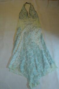 Prada Blue Silk Long Floaty Floral Back Zip Halterneck Dress Womens IT42 UK10