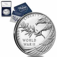 1 oz End of WWII 75th Anniversary Proof Silver Medal (w/Box & COA)
