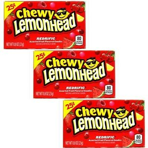 3 x Chewy Lemonhead Redrific American Hard Candy Sweets Candy Fruit Sweets 23g