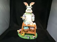 "Easter Decoration Grandpa Bunny Painting Eggs 12"" Tall Chicks Real Clothes Cute!"