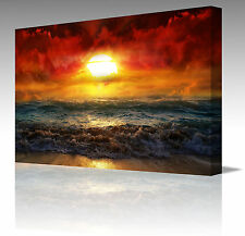 "16x12"" Fire Kissed Red Water Waves Sunset Large Framed Canvas Art Picture Print"