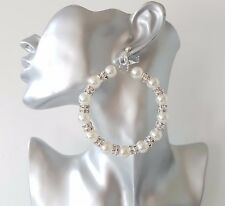 Gorgeous 8cm large silver tone - diamante & pearl CLIP - ON hoop drop earrings
