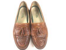 Vtg Florsheim Mens 10.5 D Woven Tassel Loafer Leather Brown Made In Brazil EUC