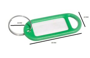 Key Ring Tag 50mm X 20mm With Label And Split Key Ring Green Pack Of 20