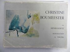Livre Monographie sur l'oeuvre de Christine Boumeester de Henri GOETZ 1968