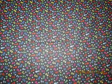 LETTERS & NUMBERS ON BLACK  FABRIC 100% COTTON  FABRIC NEW DESIGN 1 YARD PIECE