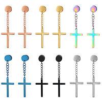 2pcs Stainless Steel Mens Women Boys Charm Cross Dangle Huggie Ear Stud Earrings