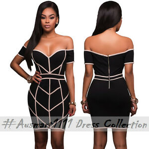 Off Shoulder Curve Hugging Fit Sexy Little Black Mini Bodycon Party Club Dress