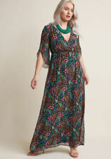 ModCloth Chiffon Floral Maxi Dress with 3/4 Sleeves in XS. Retro 1970s Style!