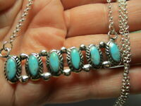 STERLING SILVER 925 NEW BLUE KINGMAN BLUE TURQUOISE 17-20 INCH NECKLACE PENDANT
