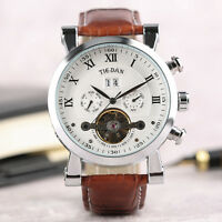 Luxury Men's Date Mechanical Tourbillon Military Wrist Watch Leather Band Gift