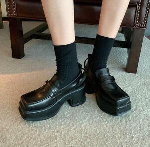 Women's Korean Retro High Heel  Shoes Loafer Pumps Creeper Square Toe Fashion