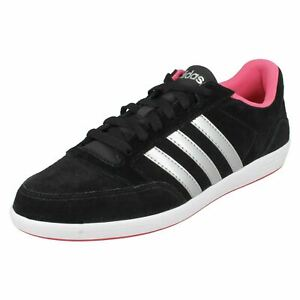 Ladies Adidas Black/Sliver/Pink Lace Up Sport Everyday Trainers HOOPS VL W