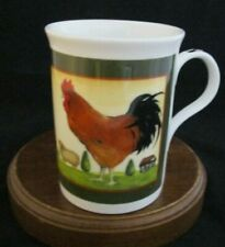 """Crown Trent Annandale Farm """"Hen & Rooster"""" Fine Bone China Mug Made in England"""